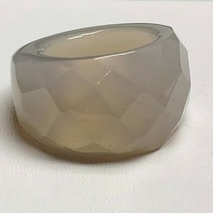 GORGEOUS FACETED GREY CHALCEDONY RING- SZ 8 1/2 🎁